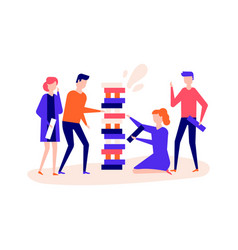 children playing a game - flat design style vector image
