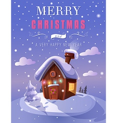 Christmas greeting card with a small cottage vector