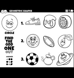 Circle shape objects educational game for kids vector