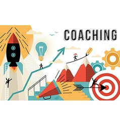 Coaching concept line art colorful modern design vector