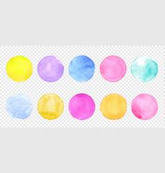 Color watercolor circle set smear watercolour vector