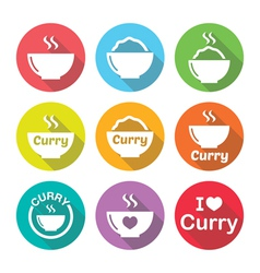 Curry Indian spicy food icons set vector
