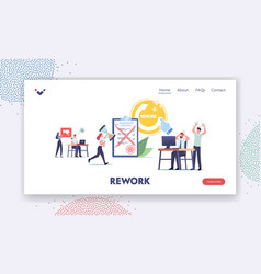 Deadline anxiety rework landing page template vector