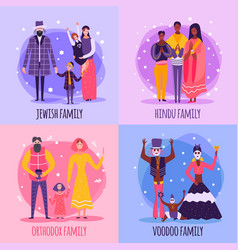 different religious people family flat icon set vector image
