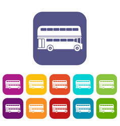 Double decker bus icons set vector