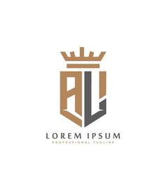 elegant wordmark al initial shield crown logo vector image