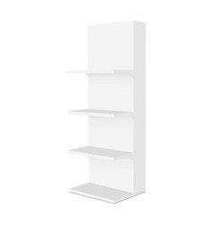 Empty display stand with shelves mockup side view vector