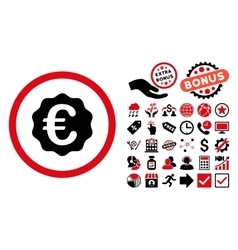 Euro Reward Seal Flat Icon with Bonus vector image vector image