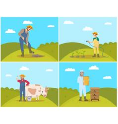 Farmer digging soil of field vector