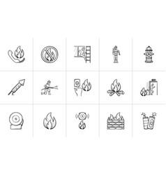 Fire hand drawn sketch icon set vector