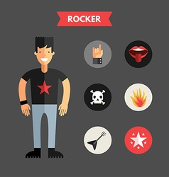 Flat design rocker with icon set infographic vector
