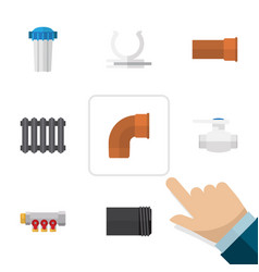 flat icon industry set of cast tube conduit and vector image