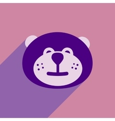 Flat icon with long shadow Canadian beaver vector