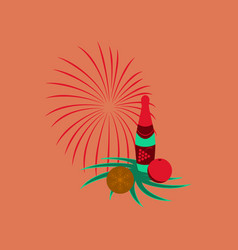 Flat on background of christmas ball vector