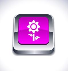 Flower 3d button vector