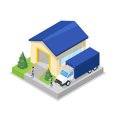 freight truck near warehouse hanger isometric icon vector image