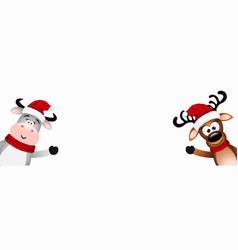 funny bull santa and reindeer vector image