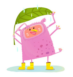 Funny cute monster under rain vector
