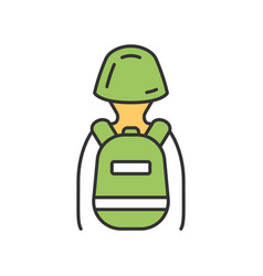 Game soldier with tactical backpack color icon vector