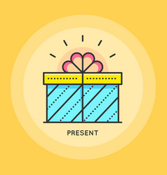 Gift box thin line icon vector