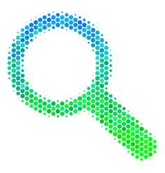 halftone blue-green search icon vector image
