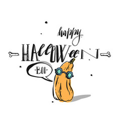 hand drawn happy halloween greeting card vector image