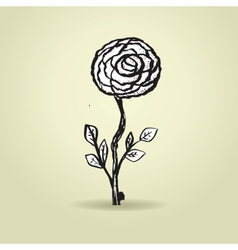 Hand drawn ink rose flower on grunge beige vector image