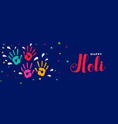 happy holi indian festiva colorsl banner design vector image