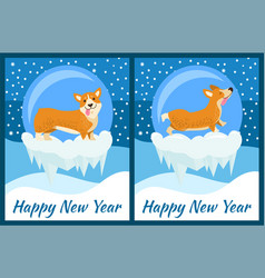 Happy new year corgi symbol of chinese horoscope vector