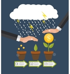 Helping Hand Money Tree Financial Growth Flat vector