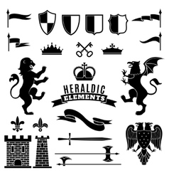 Heraldic Elements Black White Set vector image