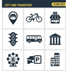Icons set premium quality of various city elements vector image
