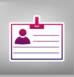 id card sign purple gradient icon on vector image