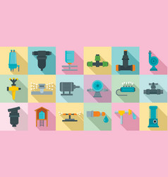 irrigation system icon set flat style vector image
