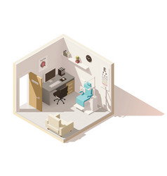 isometric low poly ophthalmologist office vector image