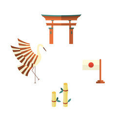Japanese flag bamboo crane and torii gate icons vector