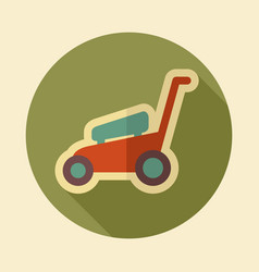 lawn mowers flat icon garden vector image