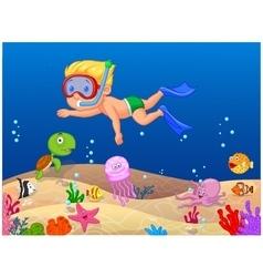 Little boy diving in ocean vector