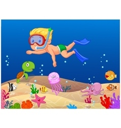 Little boy diving in the ocean vector image