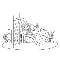 little boy with swimwear on slide in the park vector image