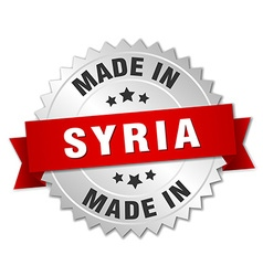 Made in Syria silver badge with red ribbon vector