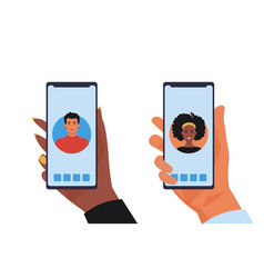 male and female hands with smartphones vector image
