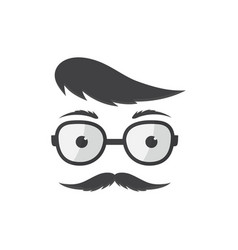 Man in glasses with a forelock and mustache vector