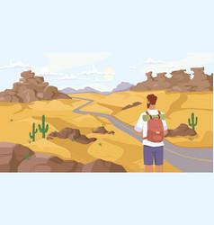 Man traveler observe desert scenery landscape vector