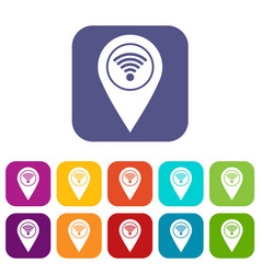 map pin pointer with wi fi symbol icons set flat vector image
