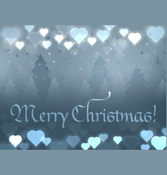 merry christmas greeting card glowing hearts on a vector image
