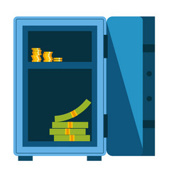 metal safe with open door and money inside vector image