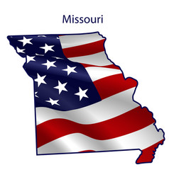 Missouri full american flag waving in wind vector