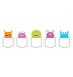 monster pocket set colorful silhouette cute vector image