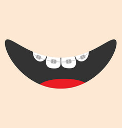 Mouth with tongue and tooth braces smiling face vector